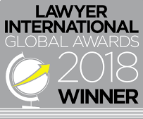 Logo of award for 'Lawyer International Global Awards 2018'