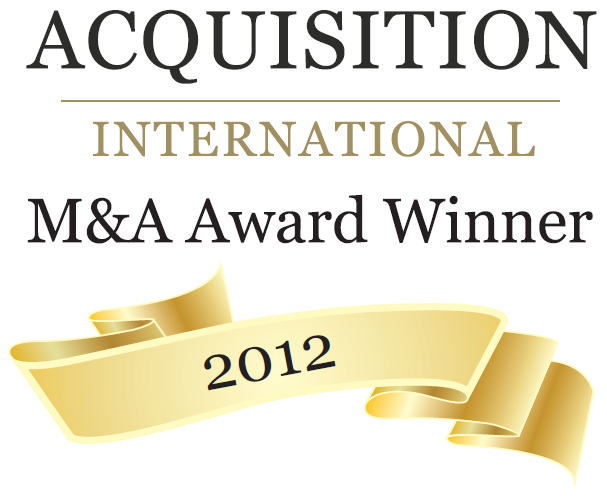 Logo of award for 'Acquisition International 2012 M&A Awards'