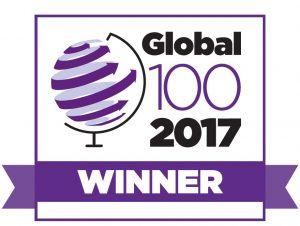 Logo of award for 'Global 100 2017 Winner'